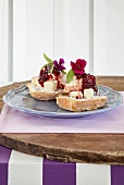 Three-cheese scones, served with Brie and beetroot chutney