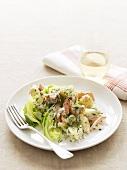 Potato salad with salmon and dill