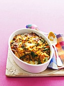Sweet potato and spinach bake in baking dish