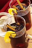 Glögg with spices and lemon peel