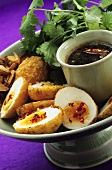Deep-fried boiled eggs and chilli sauce (Thailand)