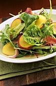 Salad leaves with asparagus and nectarines