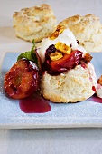 Buttermilk scones with plums