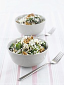 Rice with spinach, feta and walnuts