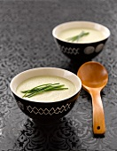 Cauliflower and Roquefort soup garnished with chives