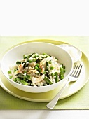 Asparagus risotto with peas and crabmeat