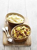 White cabbage with chorizo, mashed potato