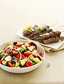 Greek salad with lamb souvlaki