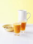 Passionfruit and papaya juice with muesli
