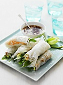 Spring rolls with soy sauce