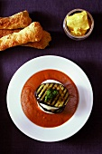 Tomato and aubergine soup with mozzarella and aubergine slices