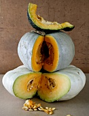 Still life with pumpkins and squashes