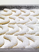 Vanilla crescents with icing sugar on baking tray