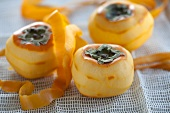 Peeled Japanese persimmons