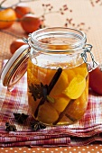 Japanese persimmons and mandarins pickled in plum wine
