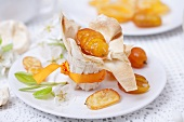 Chestnut cream and candied kumquats in filo pastry shell