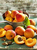 Apricots in and beside pan