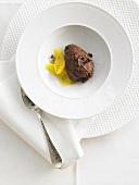 Mousse au chocolat with orange segments