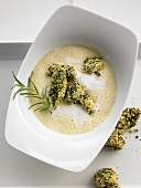 Polenta soup with fried ceps