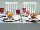 Laid table with apple decorations