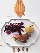 Roast loin of venison (medium) with chocolate red cabbage & spiced pear