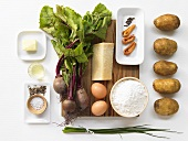 Ingredients for Parmesan gnocchi with beetroot and mace