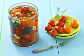 Cherry tomatoes pickled in vinegar with garlic