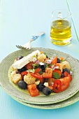 Tomato and olive salad with feta and croutons
