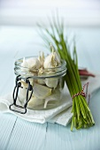 Garlic cloves and chives