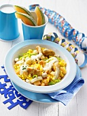 Rice salad with turkey, banana and spring onions