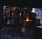 Toasting barrels (exposing to flame), Ferreira, Porto, Portugal