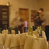 Blind tasting with covered bottles (wine tasting)
