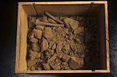 Terroir: grey slate soil in a box, Roussillon, France