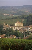 Wine village of Barolo with Castello di Barolo, Piedmont, Italy