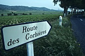Signpost to the Corbières wine-growing region, Languedoc, France