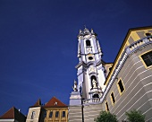 The church tower in the wine village of Dürnstein, Wachau