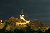 Hochheim under a threatening sky, Rheingau, Germany