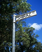 A sign with the word 'Shiraz'