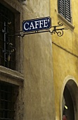 Caffe sign outside a bar in Verona, Veneto, Italy