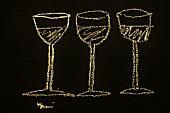Three glasses drawn on a slate, Trentino, Italy (illustration)
