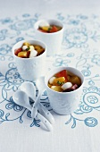 Summer fruit soup in porcelain beakers