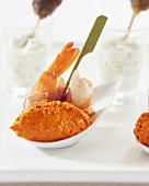 Prawns in bacon with paprika cream