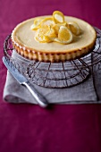 An orange tart with ginger and ricotta