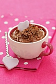 Chocolate mouse with grated chocolate in a cup