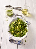 Potato salad with green asparagus and mange tout