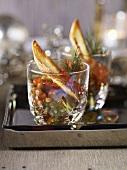 Lentil salad with salmon caviar