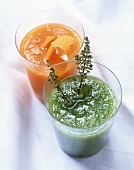 Carrot puree and herb puree