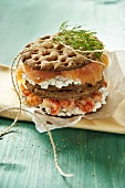 A cray fish, smoked salmon and cottage cheese sandwich on crisp bread
