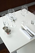 Table laid for two in restaurant