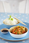 Carrot medley, soy sauce and glass noodles